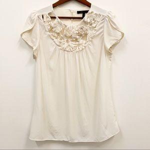BCBG MaxAzria Silk Floral Blouse White Cream M